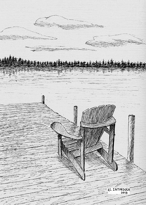 Dock Drawing - Chair On The Dock by Al Intindola