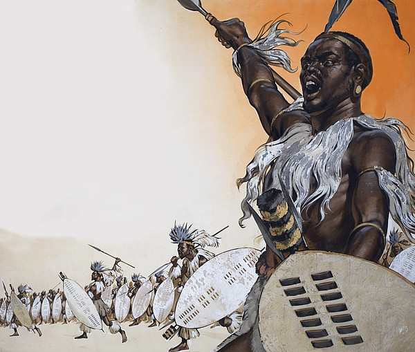 African Painting - Chaka In Battle At The Head by Angus McBride