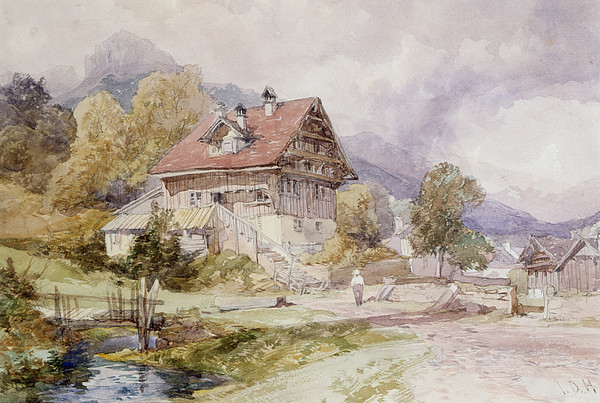 Alps Drawing - Chalet, Brunnen, Lake Lucerne by James Duffield Harding