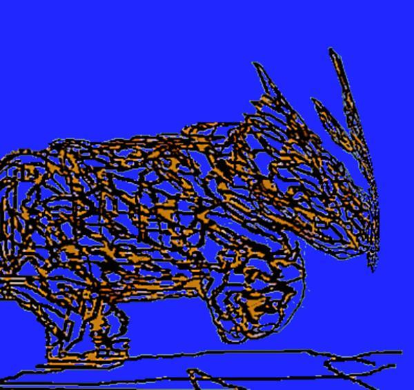 Rhino Digital Art - Charging Rhino by Jamie ian Smith