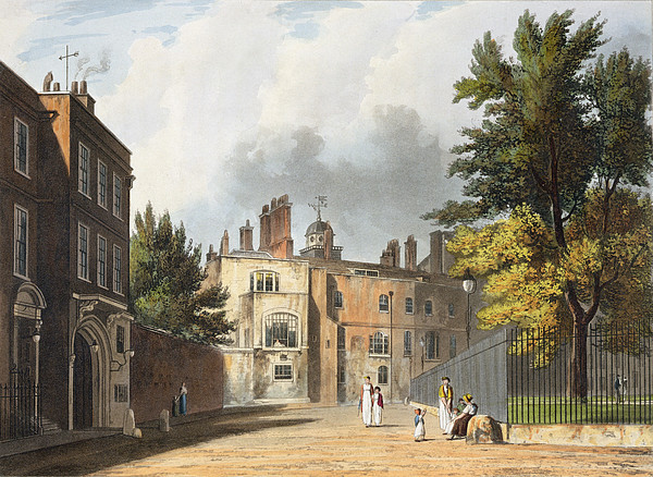 Print Drawing - Charter House From The Square by William Westall