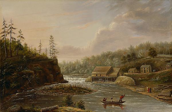 Cheever's Mill; St. Croix River; Landscape; Minnesota; Mill; Building; Industry; Industrial; Industrialisation; Boat; Figures; Houses; Buildings; Exterior; Flowing; Water; Trees; Woodland; Logging; Timber; America; American; Usa; Settlers; Settlement; Hudson River School; Wood Painting - Cheevers Mill On The St. Croix River by Henry Lewis