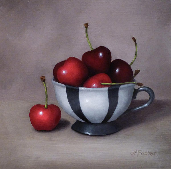 Still Life Painting - Cherries In A Teacup by Jordan Avery Foster