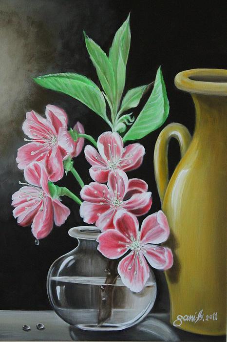 Still Life Painting - Cherry Blossoms by Gani Banacia