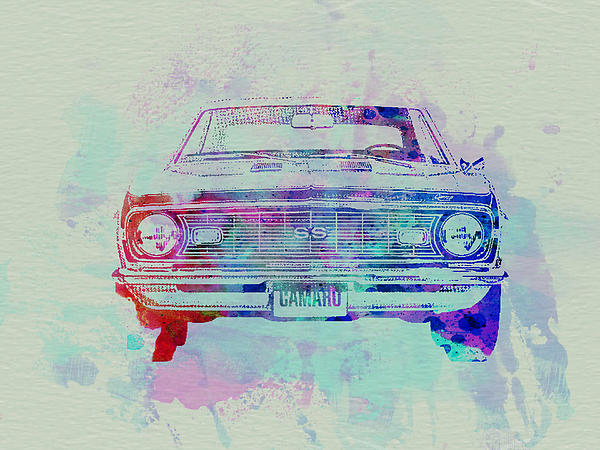 Chevy Camaro Painting - Chevy Camaro Watercolor 2 by Naxart Studio