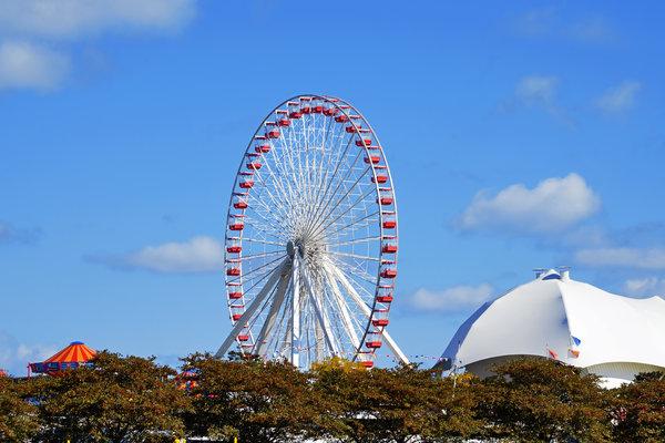 Ferris Photograph - Chicago Navy Pier Ferris Wheel by Christine Till