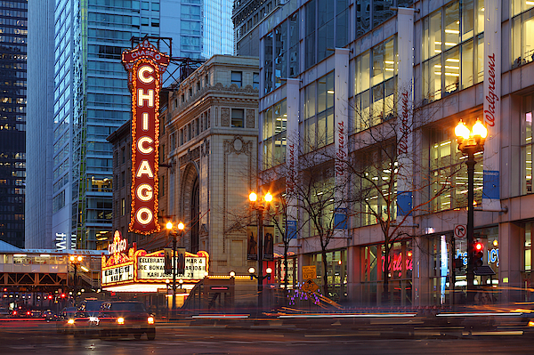 Chicago Theater At Dusk Photograph by Rainer Grosskopf