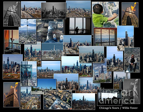 Cities Photograph - Chicagos Sears Willis Tower Collage by Thomas Woolworth