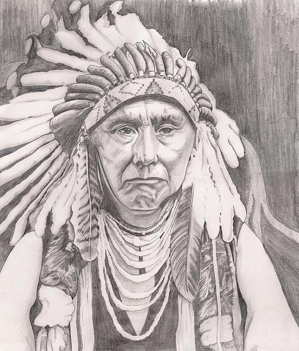 Native American Drawing - Chief Joseph by Beverly Marshall