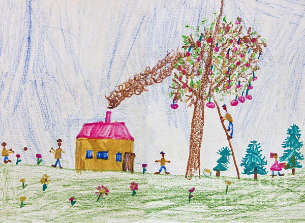 Son Drawing - Child Drawing Of A Happy Family by Kiril Stanchev