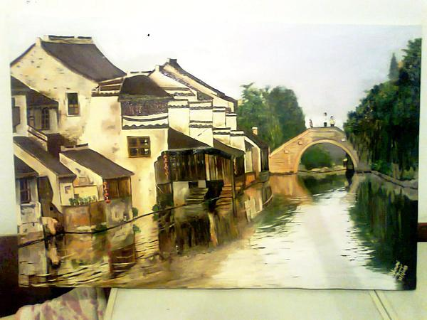 Riverside Painting - China Village by A Ghouri