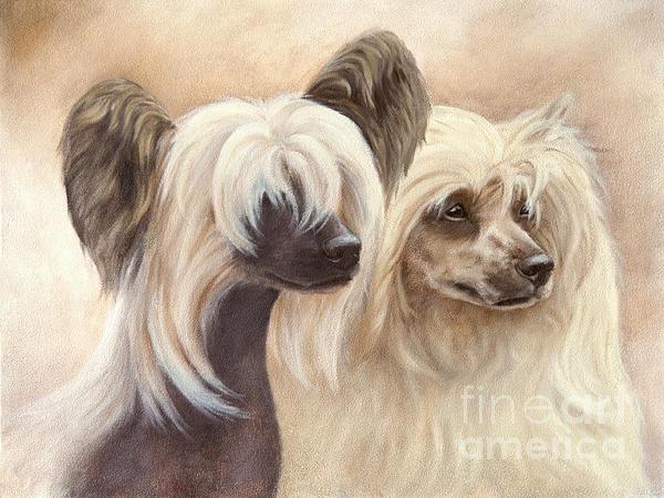 Dog Painting - Chinese Cresteds by Tobiasz Stefaniak