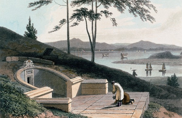 Chinese Drawing - Chinese Tomb With Two Mourners by Thomas & William Daniell
