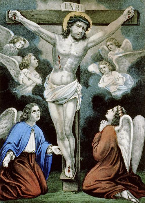 Angels Painting - Christ And The Angels Circa 1856 by Aged Pixel