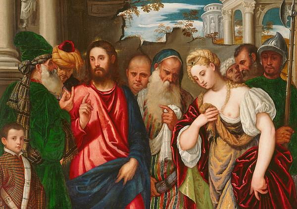 Son Of God Painting - Christ And The Woman Taken In Adultery by Veronese