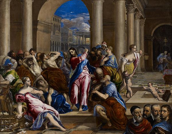 Jesus Painting - Christ Driving The Money Changers From The Temple by El Greco