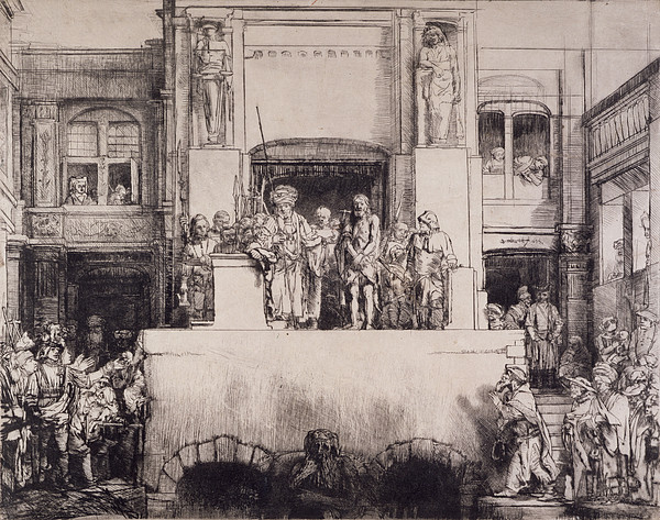Prisoner Drawing - Christ Presented To The People, 1655 by Rembrandt Harmensz. van Rijn