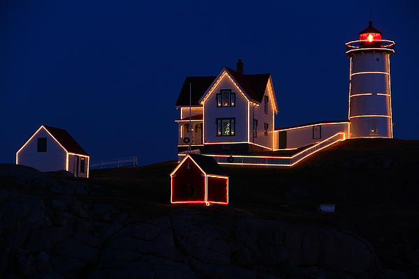 Nubble Lighthouse Photograph - Christmas At Nubble by Andrea Galiffi