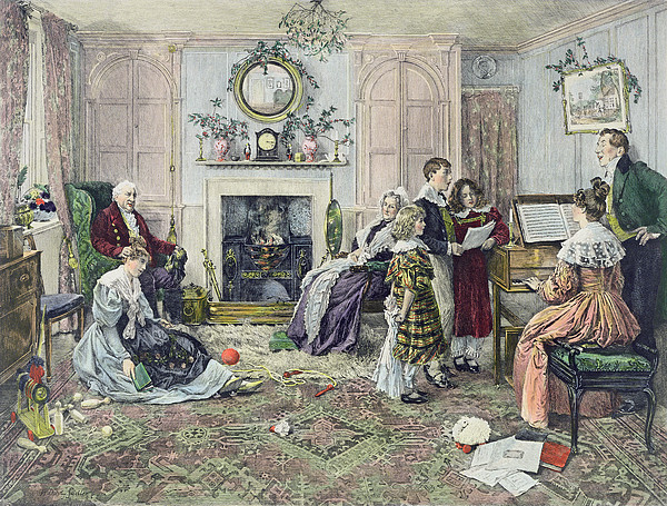 Family Painting - Christmas Carols by Walter Dendy Sadler