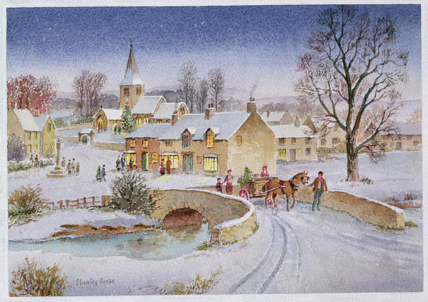 Rural; Snow; Winter; Horse And Cart; Tree; Evening; Bridge; Cross; Christmas Painting - Christmas Eve In The Village  by Stanley Cooke