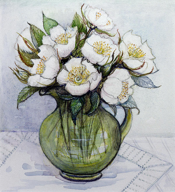 Christmas: Contemporary Painting - Christmas Roses by Gillian Lawson