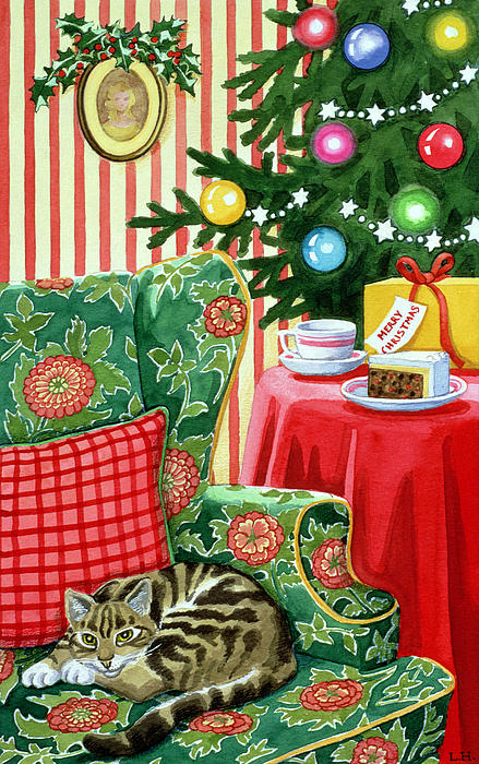 Christmas Painting - Christmas Tea by Lavinia Hamer