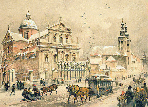Saints Painting - Church Of St Peter And Paul In Krakow by Stanislawa Kossaka
