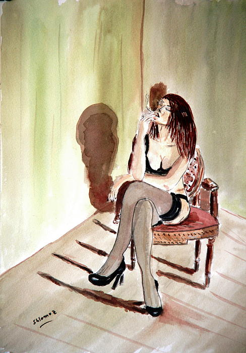 Woman Greeting Cards Painting - Cigarette Passion. by Shlomo Zangilevitch
