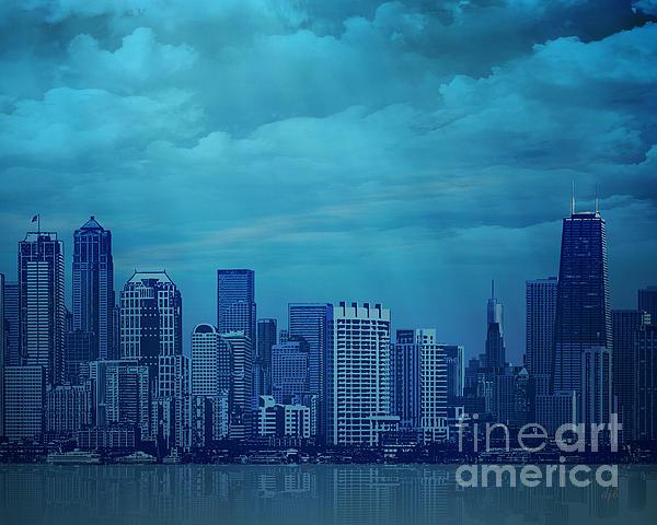 City Digital Art - City In Blue by Bedros Awak