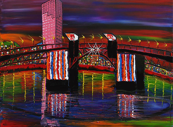 City Lights Over Morrison Bridge 8 Painting by Portland Art Creations