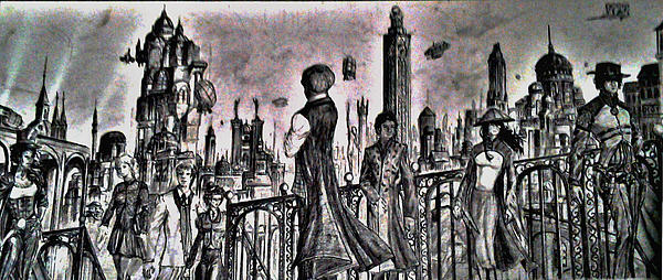 Steampunk Drawing - City Of Babel  by George Harrison