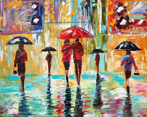 Rain Painting - City Rain by Karen Tarlton