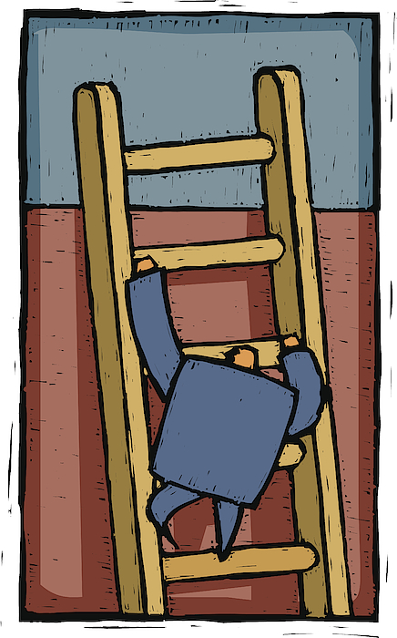 Climbing The Ladder Drawing by Imagezoo