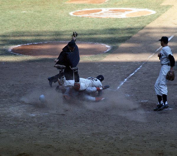 Marvin Newman Photograph - Close Play At The Plate  by Retro Images Archive