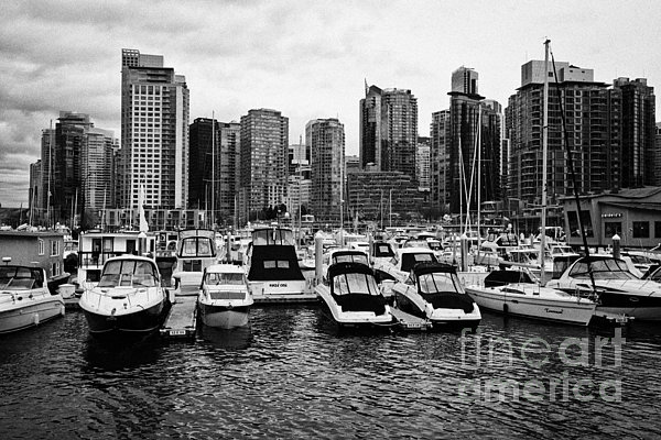 High-rise Photograph - coal harbour marina and high rise apartment condo blocks in the west end Vancouver BC Canada by Joe Fox