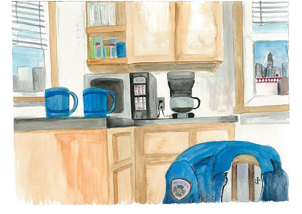 Coffee Cups On The Counter Painting by Jeremiah Iannacci