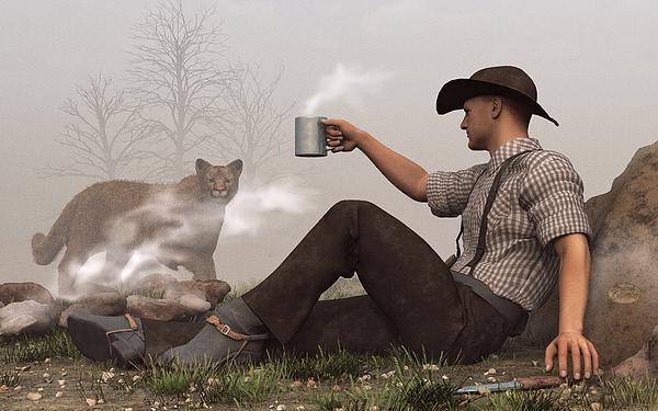 Cowboy Digital Art - Coffee With A Cougar by Daniel Eskridge