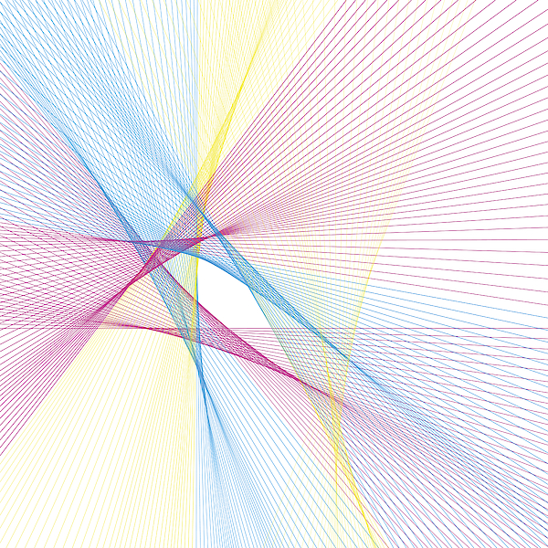 Color Computer Generated Line Pattern Drawing by FrankRamspott