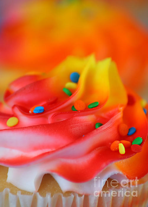 Against Photograph - Colorful Cup Cake by Darren Fisher