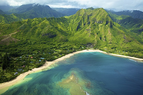 Aerial Photograph - Colorful Kauai Coastline by Kicka Witte