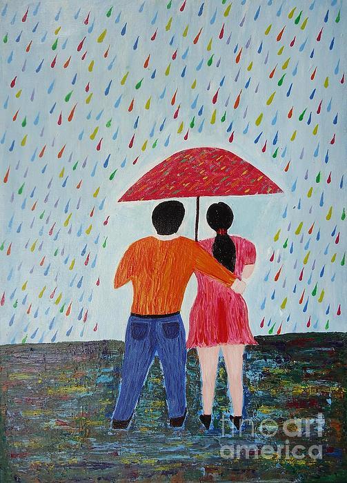 Rainy Days Painting - Colorful Rain by Jnana Finearts