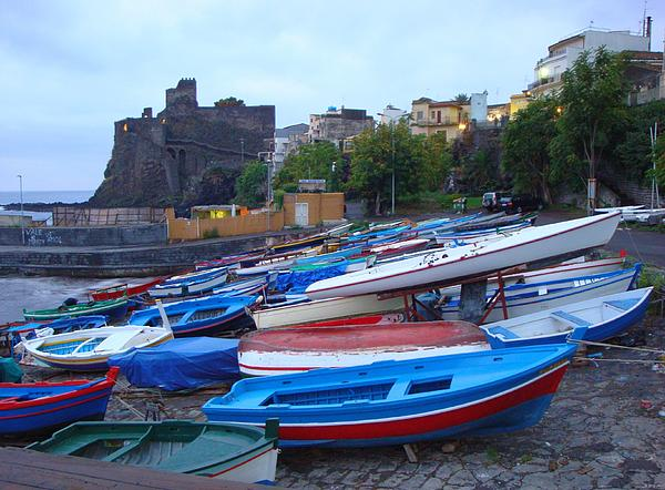 Colorful Photograph - Colorful Wooden Fishing Boats Of Aci Castello Sicily With 11th Century Norman Castle by Jeff at JSJ Photography
