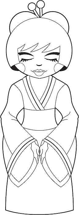 Colour Me Cute Geisha Girl Drawing by Mark Murphy