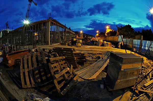 Apartment Photograph - Construction Site At Night by Jaroslaw Grudzinski