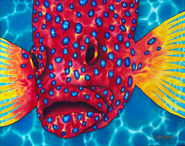 Tropical Wildlife Painting - Coral Grouper by Daniel Jean-Baptiste