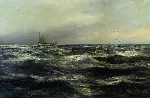 Home At Last Digital Art - Cornish Sea And Working Boat by Charles William Hemy
