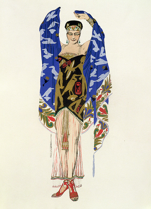 Dancer Drawing - Costume Design For A Dancing Girl by Leon Bakst