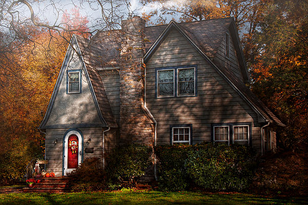 Cottage Photograph - Cottage - Cranford Nj - Autumn Cottage  by Mike Savad