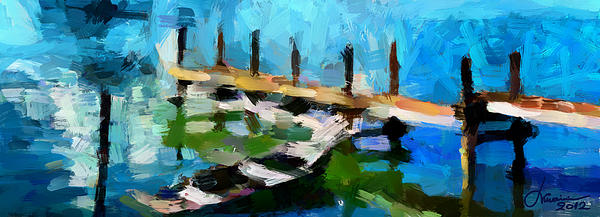 Lake Digital Art - Cottage View Tnm by Vincent DiNovici
