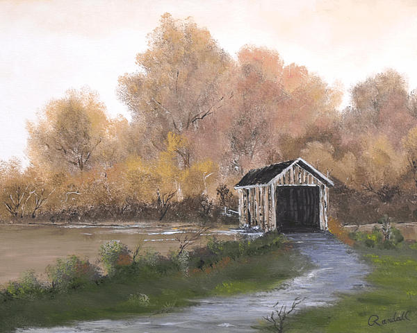 Landscape Painting - Covered Bridge by Randall Brewer